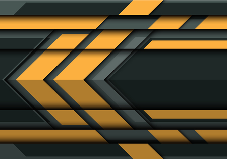 Abstract yellow arrow on gray metal 3D design modern futuristic background vector illustration.