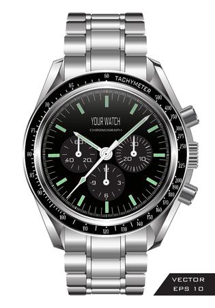 Realistische Uhruhr mit Luxusmodegegenstand des Chronographenedelstahlschwarzdesigns für Männer auf weißer Hintergrundvektorillustration.