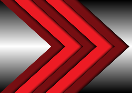 Abstract red tone arrow overlap on metal