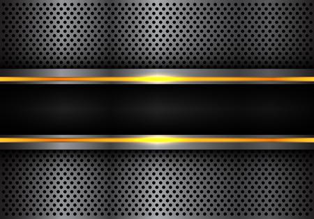 Bannière lumineuse de ligne jaune noir abstrait sur cercle de métal gris foncé conception de maille illustration vectorielle de fond futuriste moderne. Vecteurs