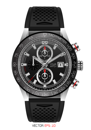 Realistic watch chronograph stainless steel black rubber clockwise red white fashion for men design luxury isolated vector illustration.