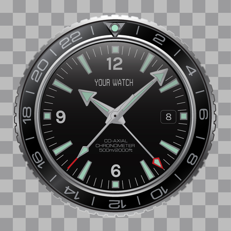 Realistic watch on checkered pattern background vector illustration.