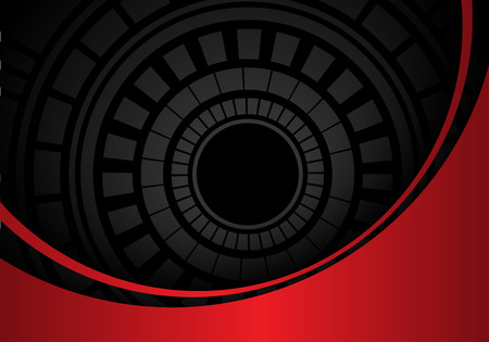 Abstract dark gray circle circuit in red metal curve design modern futuristic background vector illustration. Vettoriali