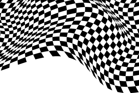 Checkered wave flying black white with blank space for sport race championship business success background vector illustration. Vettoriali