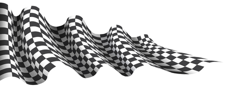 Checkered flag wave flying on white for sport race championship business background vector illustration.