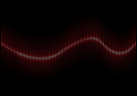 Abstract red sound wave vector background illustration.