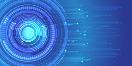 Abstract circle blue circuit technology data network design modern futuristic background vector illustration.