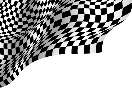 Checkered flag wave on white blank space design for sport race championship business success background vector illustration.
