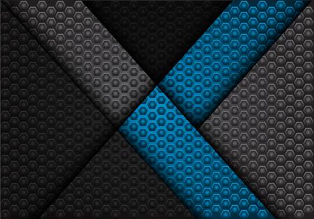 Abstract blue arrow on dark gray hexagon pattern design luxury background texture vector illustration.