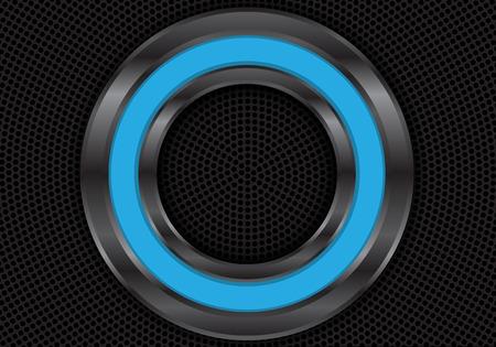 Abstract blue metal circle on black mesh design modern futuristic background vector illustration. Ilustração