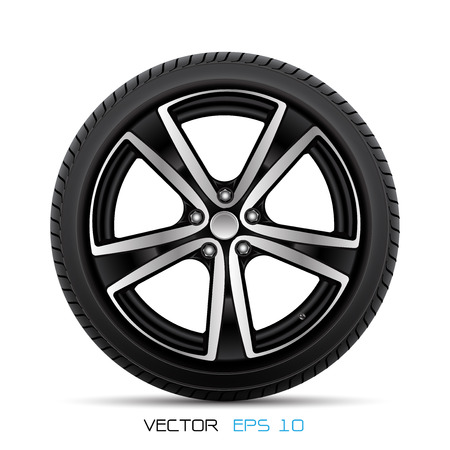 Realistic aluminum car wheel with tire style sport racing on white background vector illustration.