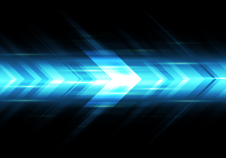 Abstract blue light arrow speed power technology futuristic background vector illustration.  イラスト・ベクター素材