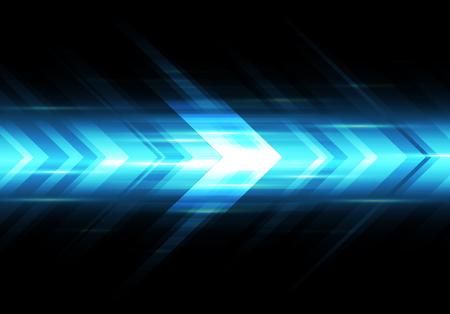 Abstracte blauwe lichte pijl snelheid macht technologie futuristische achtergrond vectorillustratie. Vector Illustratie