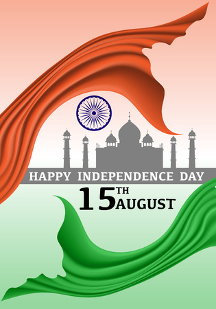 Happy Independence day India 15 August vector illustration.