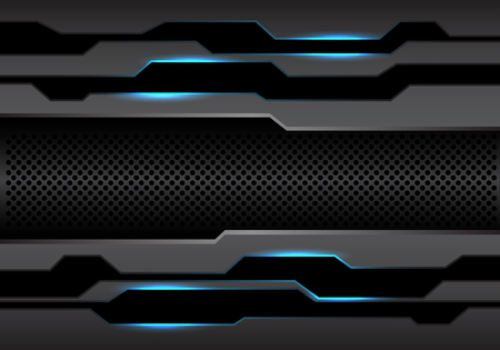 Polígono gris oscuro de metal abstracto y malla circular con diseño de luz azul ilustración de vector de fondo de tecnología futurista moderna.