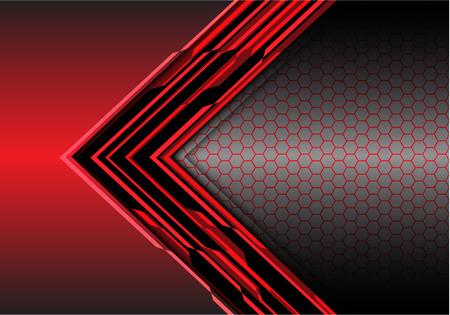 Abstract red arrow light digital metallic direction with hexagon mesh on gray design modern futuristic background vector illustration.