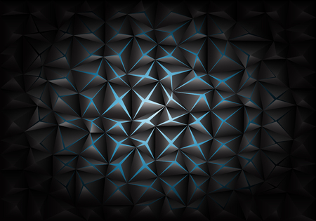 Abstract blue light in dark gray triangle polygon background texture vector illustration.