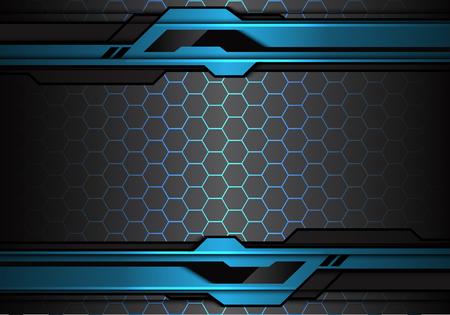 Abstract metallic blue black futuristic polygon line on hexagon mesh pattern design modern technology background vector illustration.