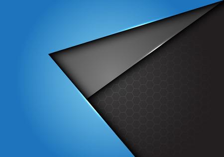 Abstract blue gray arrow direction overlap on hexagon mesh design modern futuristic background vector illustration.