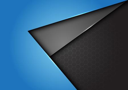 Abstract blue gray arrow direction overlap on hexagon mesh design modern futuristic background vector illustration. Vettoriali