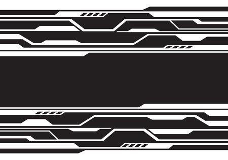 Futuristische Technologie der abstrakten weißen Linie Schaltung auf moderner Hintergrundvektorillustration des schwarzen Entwurfs.