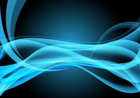 Abstract blue light curve wave on black background vector illustration.