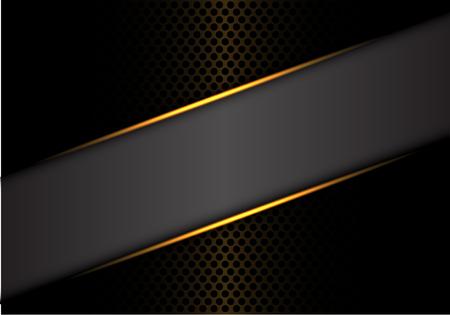 Ligne d'or abstraite bannière grise sur cercle métallique sombre maille design illustration vectorielle de luxe moderne fond futuriste.