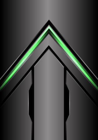 Abstract green arrow light direction on metal grey background design modern futuristic background vector illustration.