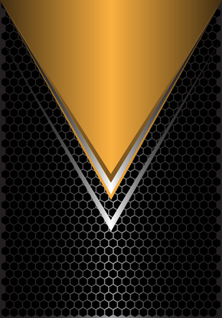 Abstract yellow triangle silver arrow on black hexagon mesh design modern futuristic background vector illustration.
