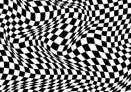 Checkered wave black white background for sport race championship and business finish success vector illustration. Vector Illustratie