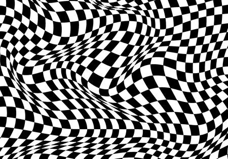 Schwarzer weißer Hintergrund der karierten Welle für Sportrennen-Meisterschaft und Geschäftsabschluss-Erfolgsvektorillustration. Vektorgrafik