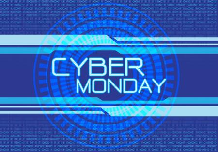 Cyber Monday blue digital design modern futuristic background vector illustration.