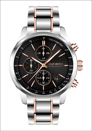 Realistic clock watch chronograph steel copper black face white number luxury for men isolated background vector illustration.