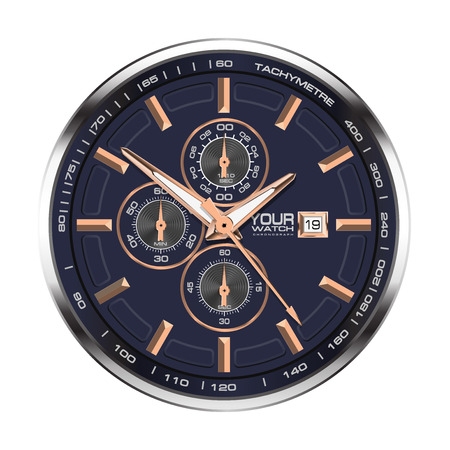 Realistic face watch clock chronograph stainless steel copper on white background luxury vector illustration.