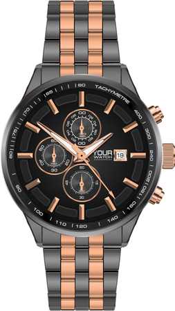 Realistic watch clock chronograph steel grey copper on white background luxury vector illustration.