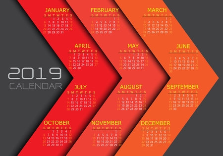 Calendar 2019 yellow white text number on red tone arrow background design modern futuristic vector illustration.