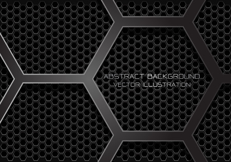 Abstract dark grey hexagon overlap on mesh design modern futuristic background vector illustration.
