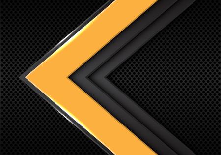 Abstract yellow grey arrow direction on dark circle mesh design modern futuristic background vector illustration. 일러스트