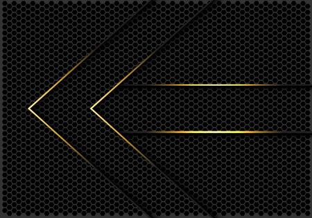 Abstract gold lines arrow direction on dark grey hexagon mesh design modern futuristic background vector illustration. Vecteurs