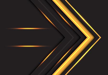 Abstract yellow light arrow direction on dark grey design modern futuristic background vector illustration.