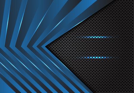Abstract blue arrow pattern on dark grey circle mesh design modern futuristic background vector illustration. Ilustração