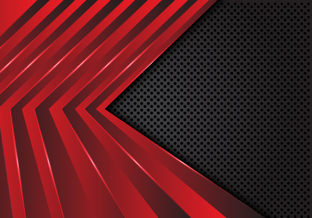 Motif abstrait flèche rouge sur cercle gris foncé maille design illustration vectorielle de fond futuriste moderne.