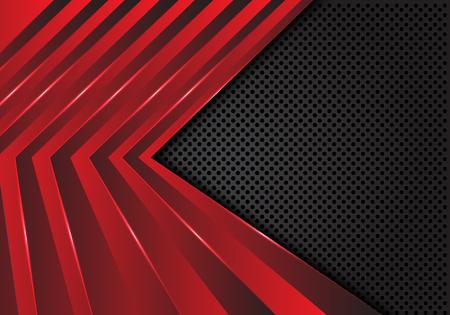Patrón de flecha roja abstracta en la ilustración de vector de fondo futurista moderno diseño de malla de círculo gris oscuro.