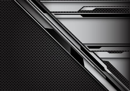 Abstract steel cyber pattern on dark grey circle mesh design modern futuristic technology background vector illustration.