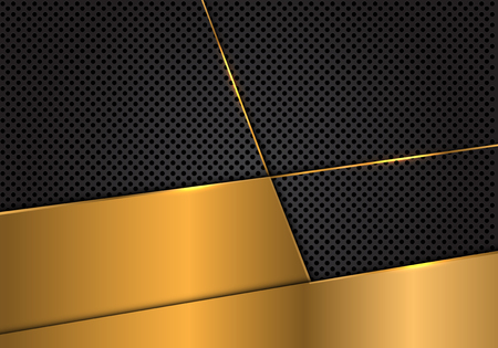 Abstract gold blank on dark grey circle mesh design modern luxury futuristic background vector illustration. Ilustração