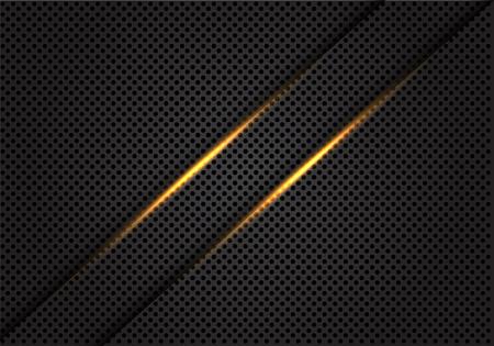 Abstract twin gold light line on dark grey circle mesh design modern luxury futuristic background vector illustration.