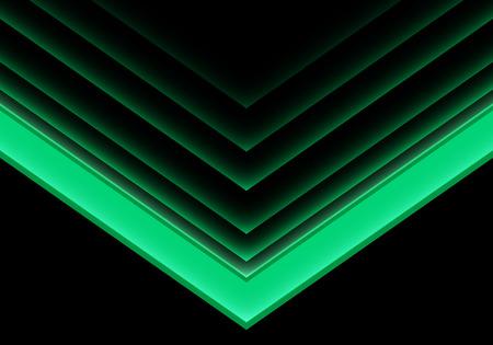 Abstract green arrow light neon direction on black design modern futuristic background vector illustration.