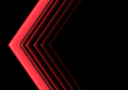 Abstract red arrow light neon direction on black design modern futuristic background vector illustration.