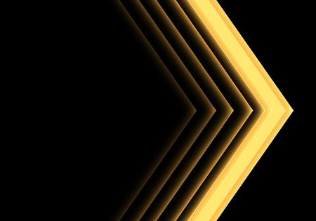 Abstract yellow arrow light neon direction on black design modern futuristic background vector illustration.