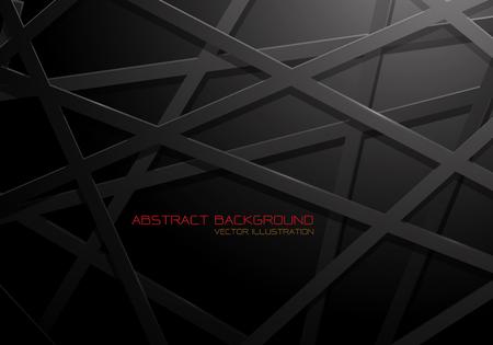 Abstract black mesh line cross pattern overlap design modern futuristic background vector illustration. Ilustração